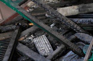 Inside the burnt school.