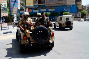 Egyptian army forces ready to take a tour in the area they are responsible for.